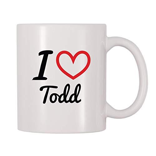 Taza de café con nombre personalizado de I Love Todd (11 oz)