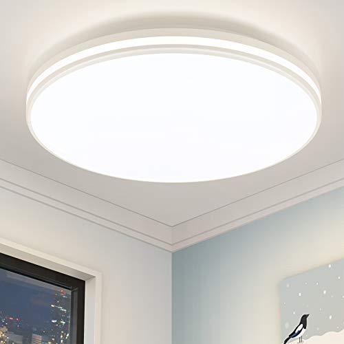 LED Deckenleuchte Bad 24W Öuesen 2250LM Badezimmer Lampe Deckenlampe Wohnzimmer Rund IP44 Wasserfest für Bad Küche Schlafzimmer Balkon Flur 4000K Neutralweiß / Ø32cm
