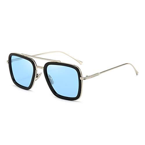 Dollger Retro Sonnenbrille Tony Stark Brille Vintage Quadratische Eyewear Metallrahmen für Damen Herren Iron Man Spiderman die Gleiche Farbe