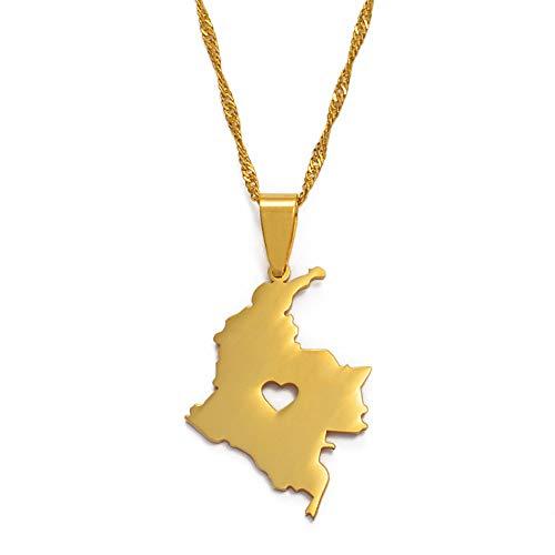 Collar De Mapa,Exquisito Unisex Ahuecado Corazón Colombia Contorno Mapa Dorado Colgante Collar Único Encanto Étnico Joyería para Mujeres Hombre Niñas Niños Varias Ocasiones Viaje Conmemorar Re