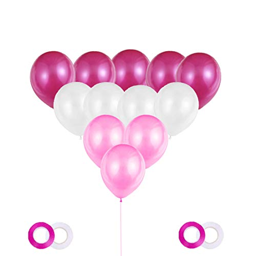 Globos de cumpleaños, globos de fiesta, globos de boda, blanco * rosa * fucsia, 120 globos redondos, 4 cintas de globos, látex (120 globos nacarados), para diversas decoraciones y eventos.