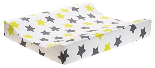 ZEWI bébé-jou Baby Wickelauflage, 100% Baumwolle, Lime Stars, 70 x 50 cm