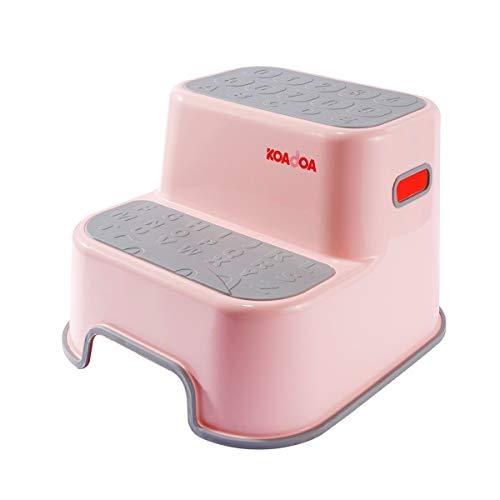 KAIDA 踏み台 子供 ステップ台 2段 幼児 大人 ステップスツール キッズ トイレ お風呂用 滑り止め (ピンク+グレー)