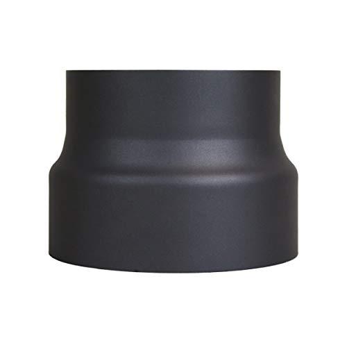 LANZZAS Rauchrohr Ofenrohr Reduzierung Ø 180 mm auf Ø 160 mm schwarz Kaminofen Rohr Ofenrohrreduzierung