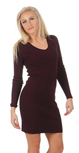 Fashion4Young 10894 Damen Feinstrick Kleid Minikleid Strickkleid Langarm V-Ausschnitt (dunkelweinrot, L/XL=38/40)