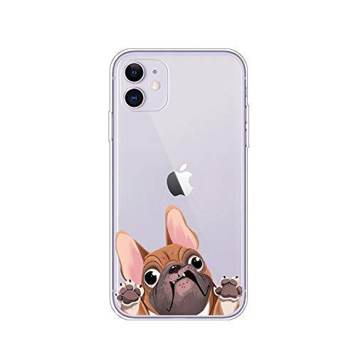 Cover posteriore in TPU per iPhone 11 Pro X XR XS MAX 8 7 Pug Dog Bulldog francese Custodia morbida in silicone per iPhone 8 7 6S 6 S Plus - A3049-Per iPhone 11 Pro