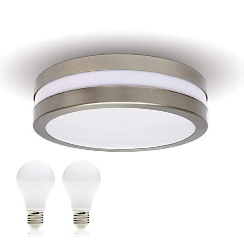 JVS LED Deckenleuchte Badlampe Außenleuchte PROVANCE E27 230V IP44 inkl.2x LED 10W Warmweiss Lampe Wandleuchte Aussenbeleuchtung Wohnzimmerlampe für Badezimmer Küche Badleuchte Rund