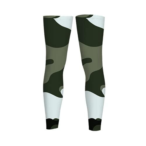 leyhjai Jungle Military Camo Full Length Sleeves Compression Sleeve Socks Knee Braces for Basketball Cycling