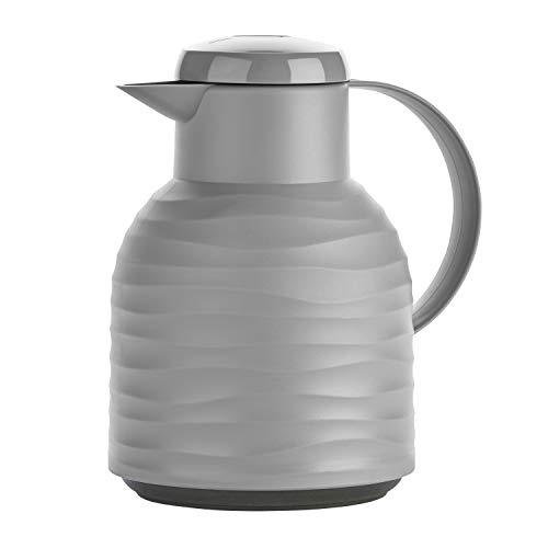 Emsa N40109 Samba Wave Isolierkanne | 1,0 Liter | Quick-Press Kunststoff | Glas-Isolierkolben | Kaffeekanne: 12h heiß/24h kalt | made in Germany | 100 % dicht | stone
