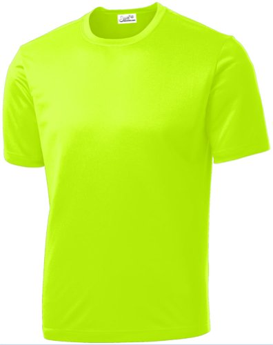 Joe's USA - All Sport Neon Color High Visibility Athletic T-Shirt, Neon Yellow, Large