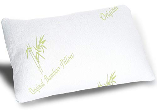 Original Bamboo Pillows for Sleeping Pillow - Standard/Queen Size - Adjustable Loft Cooling Shredded Memory Foam Bed Pillow - Cool Hypoallergenic Luxury - Comfort for Back Side and Stomach Sleeper