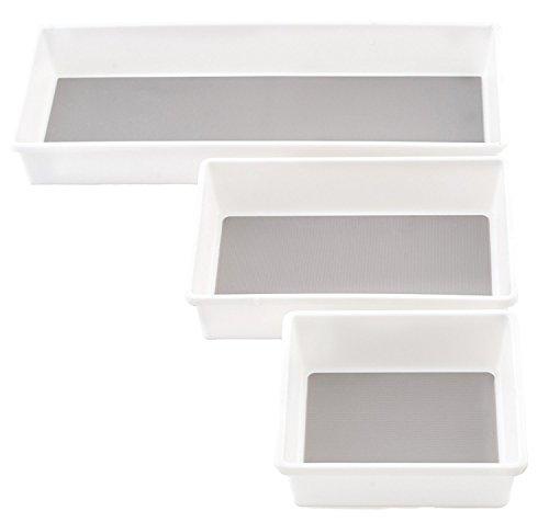 KD Organizers Drawer Organizer Trays for Kitchen or Desk, Set of 3 Plastic Containers: Modular storage bins for kitchen, office, bathroom, dresser, junk drawers