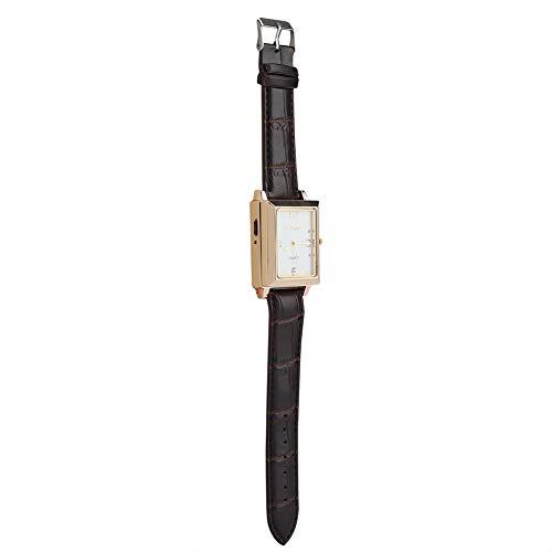 Dsrgwe Mechero USB Recargable A Prueba De Viento Sin Fllamenta De Cigarrillos Y Un Regalo De Reloj De Pulsera Cuadrado para Hombre, Blanco