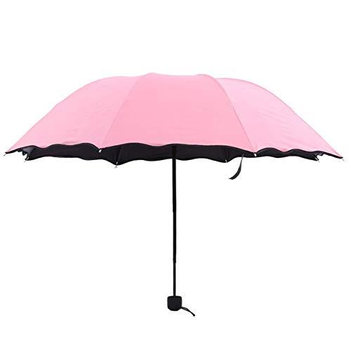 Mdsfe Travel Parasol Folding Rain Windproof Umbrella Folding Anti-UV Sun/Rain Umbrella Female Gift Girls Anti-UV Waterproof Portable - Pink,a1