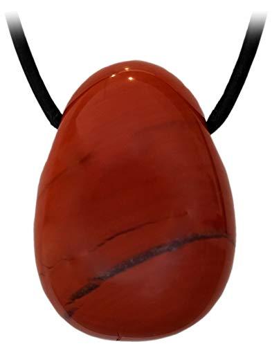 Kaltner Präsente Idea de regalo – Collar de cuero para hombre y mujer con colgante de piedra preciosa, jaspe rojo