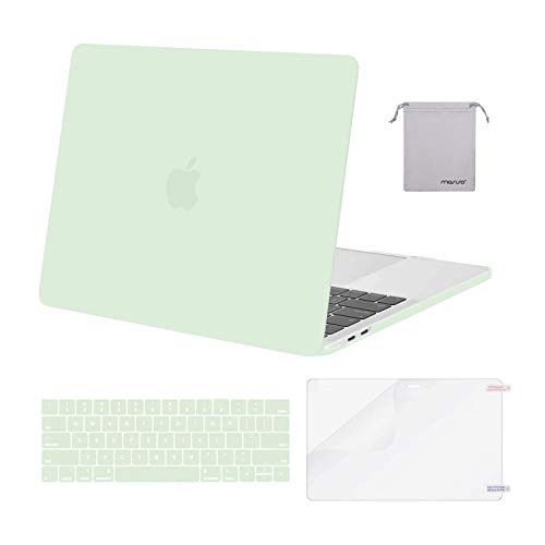 MOSISO Compatible with MacBook Pro 13 inch Case 2016-2020 Release A2338 M1 A2289 A2251 A2159 A1989 A1706 A1708, Plastic Hard Shell Case&Keyboard Cover Skin&Screen Protector&Storage Bag, Honeydew Green