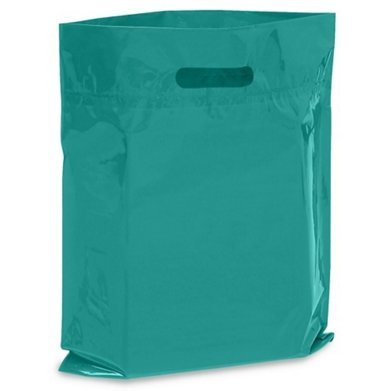 "NEW - Extra Thick 1.5mil - 50 Glossy Merchandise Bags, Retail Shopping Bags, 12"" X 15"" with Die Cut Reinforced 3"" Fold Over Handle, No Gusset (Teal)"