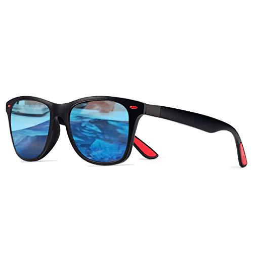 CHEREEKI Gafas de Sol Polarizadas, Gafas de Sol de Moda Hombre Mujer 100% Protección UV400 Gafas para Conducción (Negro-Azul)