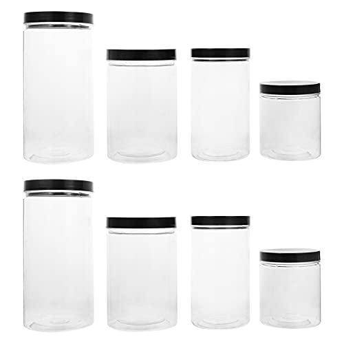 Angoily 8 Tarros de Plástico con Tapas Almacenamiento Hermético de Alimentos Tarros de Plástico Transparente para Alimentos Secos Mantequilla de Maní Almacenamiento de Miel Y Mermelada