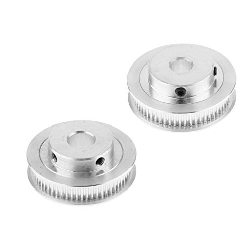FLAMEER 2 x Schrittmotor 60 Zahn 8mm + 10mm Bohrung Aluminium GT2 Zahnriemen Riemenscheiben Für 3D Drucker