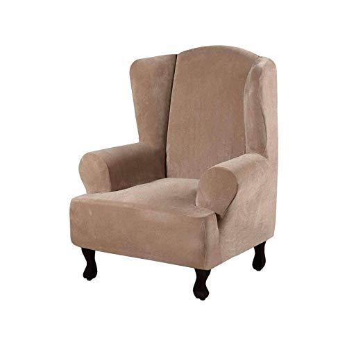 Funda de terciopelo para silla con alas suaves, fundas para sillones reclinables, fundas para sofá, protector de muebles, color camello