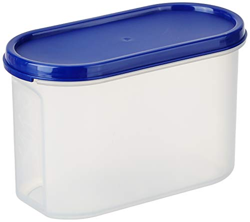 Amazon Brand - Solimo Modular Plastic Storage Containers with Lid, Set of 4, 1.2L, Blue