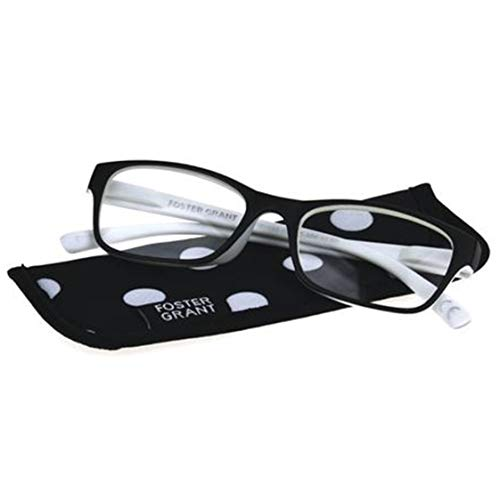 Foster Grant Lucille Women Black White Reading Glasses +1.75