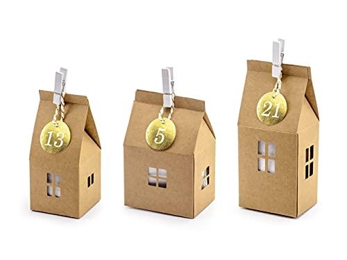 Calendario dell'avvento con 24 casa casetta in Carta Kraft Natale