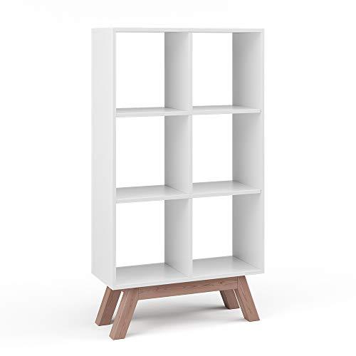 Vicco Raumteiler Karree 6 Fächer Bücherregal Standregal Aktenregal Hochregal Aufbewahrung Regal (Weiß + Fuß 68cm Teak)