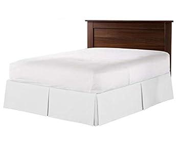 12 Inch Drop Full White Solid Bed Skirt Split Corner Pleated Style Bedding