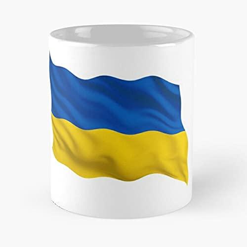 Ukraine Waving | Soporte de agradecimiento de los fanáticos del fútbol – Mejor taza de café de cerámica blanca de 11 onzas