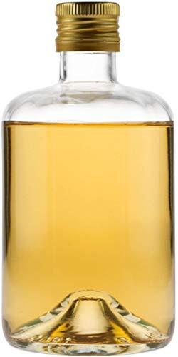 Frascos de farmacia, 6 unidades de 500 ml de vidrio transparente, incluye tapón de rosca (PP31,5) incluye boquilla