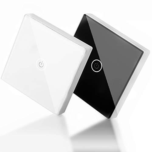 Interruptor de luz inteligente de Wifi, Interruptores de pared de inteligencia inalámbricos táctiles, Panel de interruptor de pared de luz táctil a control remoto inalámbrico de 12 V 1 vía (Negro)