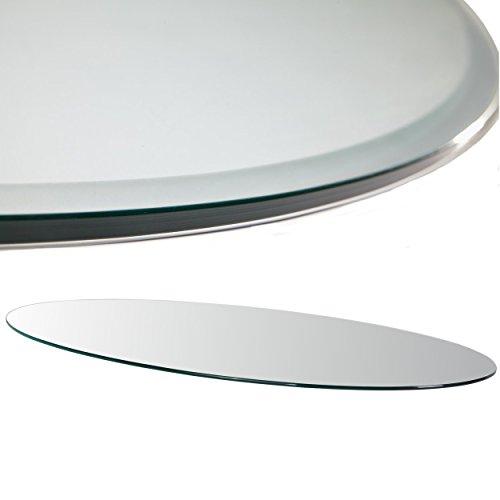 Euro Tische Glasplatte für Kaminofen oval 100 x 60 cm - Glasscheibe mit 6mm ESG Sicherheitsglas - perfekt geeignet als Funkenschutzplatte