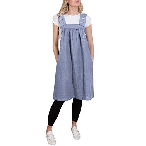 Lialbert Rundhals Camisole-Kleid Strap Dress Eckigem Ausschnitt Skaterkleid Swing-Kleid Tunika Kurzes Latzkleid ÄRmellos Vintage Strap Dress Maternity Party Rock Blau