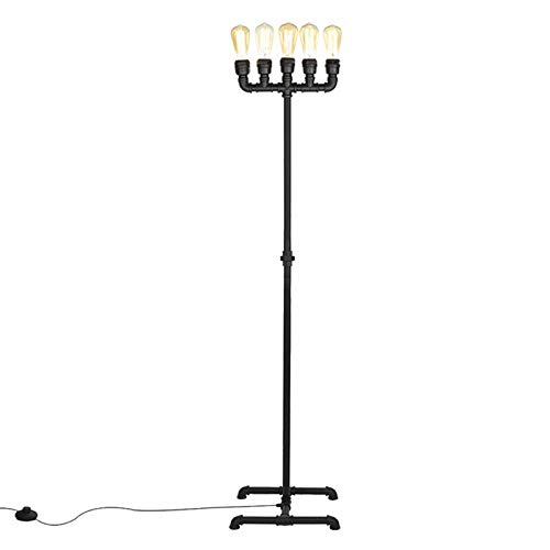 Lámpara De Pie Industrial Vintage para Salón Bar Loft con Interruptor De...