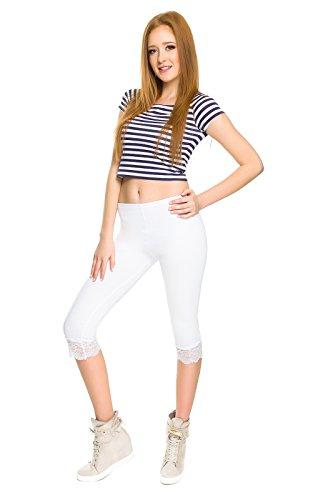 SOFTSAIL Damen Capri-Leggings mit Spitzeneinsatz, 3/4 Stretchhose, Baumwolle, Größen 36-54 Gr. 46, weiß
