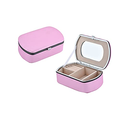 Kudiro Caja de joyería Caja de almacenamiento de joyería de cuero genuino caja de joyería anillo pendiente pulsera collar caja de almacenamiento Love Lock Joyero de señora regalo (rosa B)