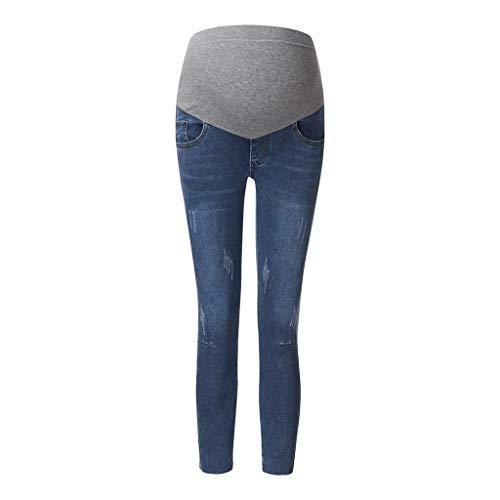 95sCloud Damen Umstandsmode Leggings Lange Hose Freizeithose Umstandsleggings Jeans für Schwangerschaft Maternity Komfortable Elastische Bund Schwangerschaftshose Denim Umstandsjeans (Blau, 3XL)