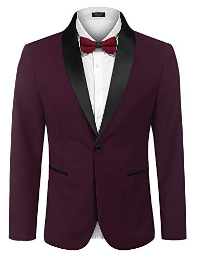 COOFANDY Men's Slim Fit Stylish One-Button Suit Coat Business Blazers Jacket ,Wine Red ,Large