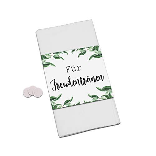 50 Banderolen für Freudentränen Taschentuch inkl. 50 Verschlussetiketten Banderolen Hochzeit (Eucalyptus)