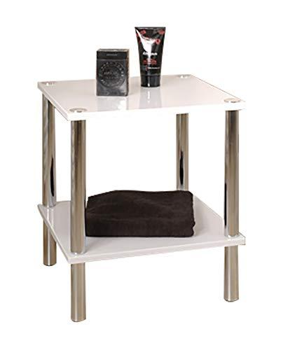 Haku Möbel Regal -Stahlrohr verchromt MDF-Ablagen Hochglanz weiß H 47 cm