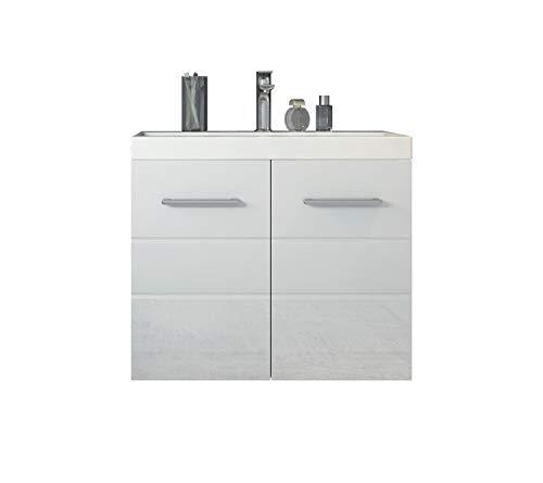 Badplaats B.V. Badezimmer Barmöbel Toledo 01 60 x 35 cm Hochglanz Weiß - Unterschrank Schrank Waschbecken Waschtisch