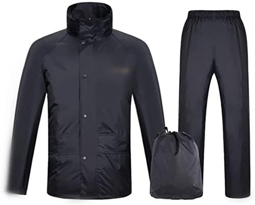 Traje de lluvia para hombres y mujeres impermeable chaqueta pantalones impermeable conjunto de alta visibilidad impermeable impermeable impermeable con capucha trabajo motocicleta (M)