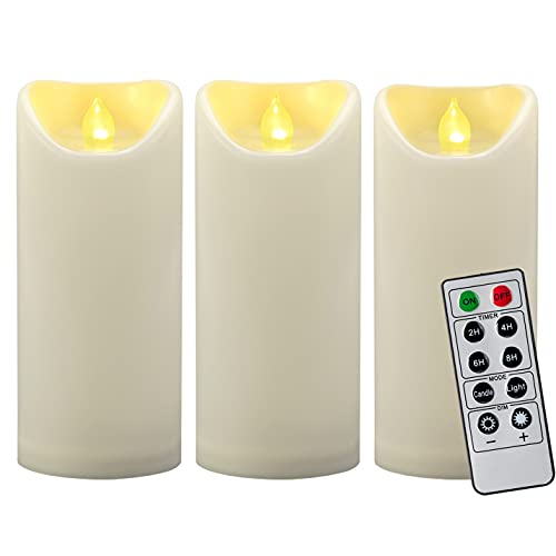3 PCS 7' Outdoor Waterproof Flameless LED Pillar Candles with Remote Timer/Battery Operated Plastic LED Fake Candle for Halloween Pumpkin Light Lantern Christmas Decorations (Ivory)