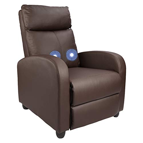 Homall Single Recliner Chair Padded Seat PU Leather Living Room Sofa Recliner Modern Recliner Seat Club Chair Home Theater Seating (Brown)