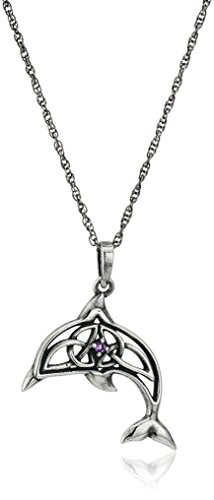Oxidized 925 Sterling Silver Genuine African Amethyst February Birthstone Celtic Knot Dolphin Pendant Necklace, 18'