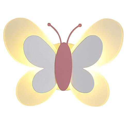 MINGRT Apliques de Pared de LED Escaleras, Mariposa Creatividad 14W Iluminación de Pared para Habitación de Niños con Tire del Interruptor Lámpara de Noche para Dormitorio, Pasillo (Color : White)