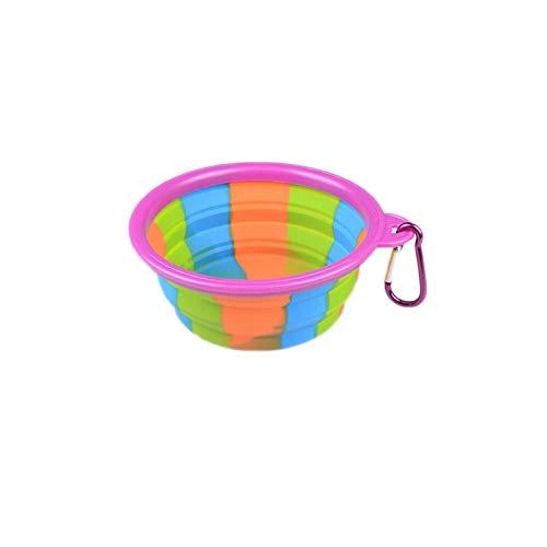 8in1 Faltbare Hundenapf Food Grade Silikon BPA frei Faltbare erweiterbare Haustier Katzenfutter Wasser Fütterung tragbare Travel Bowl Free Karabiner,Purple