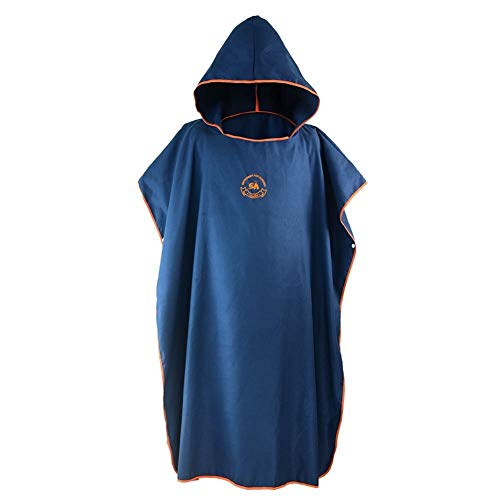 JanTeelGO Changing Robe Towel Poncho, Surf Beach Wetsuit Changing Towel Bath Robe Poncho with Hood, Perfect for beach, Holidays, Travel, Surf, One Size Fit All (Navy)